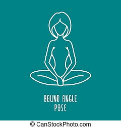 Linear yoga icon - Yoga pose flat line icon, simple sign of...