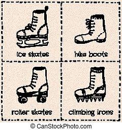 Sport shoes - Vector sport shoes doodle set on paper