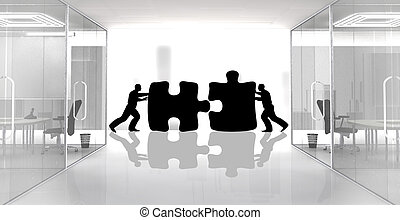 Concept of two workers assembling jigsaw pieces.