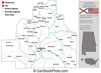 Bibb County in Alabama - Large and detailed map and infos...