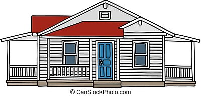 White wooden house - Hand drawing of a white wooden house