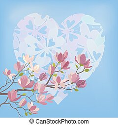 Magnolia Flowers and Valentines Heart - Background for the...