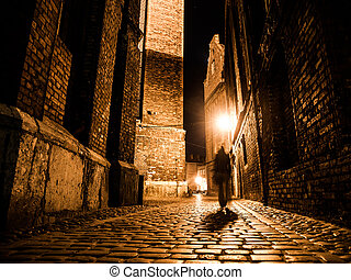 Illuminated cobbled street in old city by night -...