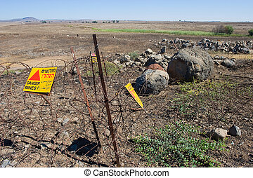 Warning signs with Danger Mines - Warning signs with 'Danger...