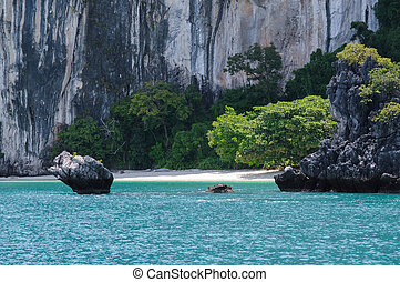 The Small, Secluded Beach of the Trees Covered Island. Koh Hong Island at Phang Nga Bay near Krabi and Phuket. Thailand.