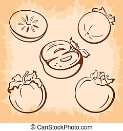 Fruits Persimmon Pictograms - Fruits Set, Persimmon Brown...