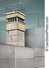 Berlin Wall and Watch Tower, Germany - Watch Tower at the...