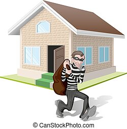 Thief robs house Property insurance - Robber in mask carries...