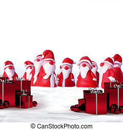 santas and gifts - a group of santa clauses and christmas...