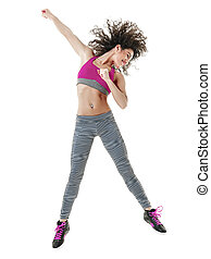 woman zumba dancer dancing fitness exercises - one mixed...