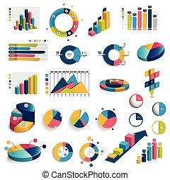 Mega set of charts, graphs, circle charts. Flat and 3D design. Vector.