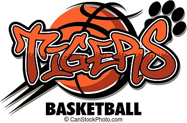 tigers basketball team design with ball and paw print for...