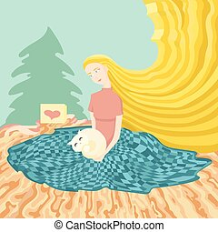 Illustration of young girl sitting at the floor with gift...
