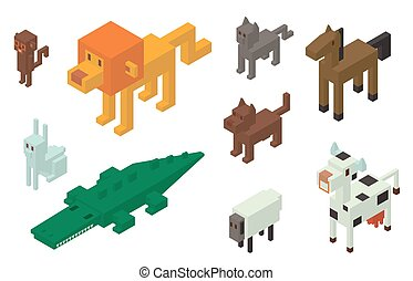 Animal vector 3d isometric icons collection. Wild animals...