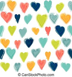 Water painted heart seamless pattern White isolated vector...
