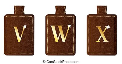Alphabet Keyring and Fob VWX - A brown leather key fob and...