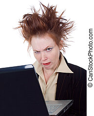 Angry crazy Business woman with a laptop - Angry crazy...
