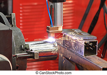 Welding Sparks - Automated Robot Welding Pipe in Factory
