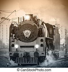 Old retro russian steam locomotive - Old retro russian steam...