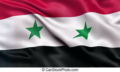 Syria flag seamless loop - Realistic flag of Syria waving in...