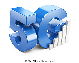 5G sign High speed mobile web technology 3d illustration...
