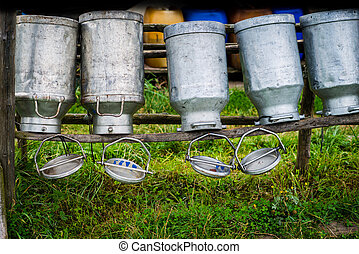 Old Milk Cans Made of Aluminum Old milk cans made of metal...