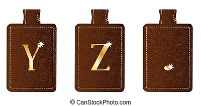 Alphabet Keyring and Fob YZ Period - A brown leather key fob...