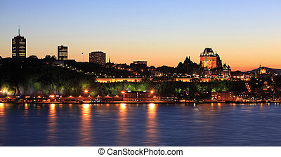 Quebec City skyline at dusk