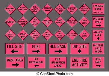 Incident road signs - Vector illustration of differents pink...