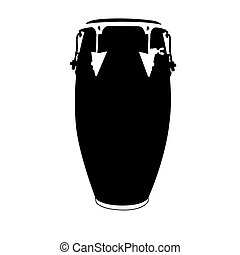 Musical instrument - An isolated silhouette of a drum on a...