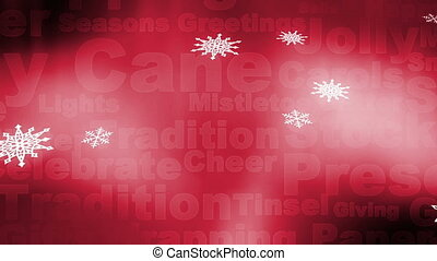 Christmas words snow red background