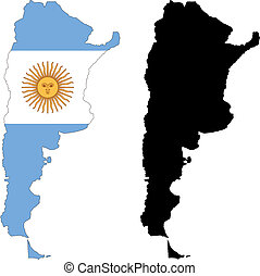 argentina - vector map and flag of Argentina with white...