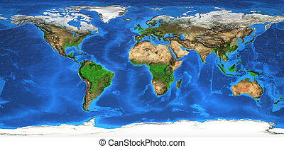 High resolution world map and landforms - Detailed satellite...