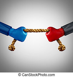 Tug Of War - Tug of war as two opposing businessmen rivals...
