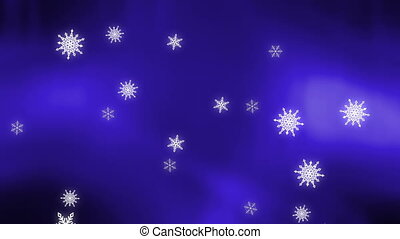 Snow flake on blue background