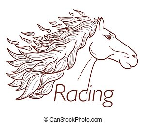 horse racing symbol on white