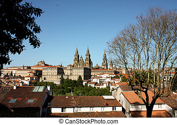 Panoramic of Santiago de Compostela - Cathedral of Santiago...