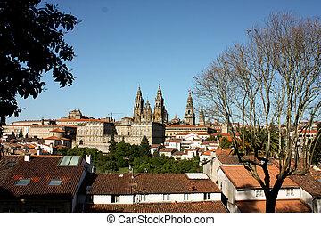 panorâmico, Santiago, Compostela