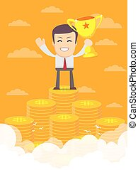 Man on the huge money staircase. - Vector illustration of...