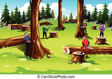 People Cutting Down Trees - A vector illustration of people...