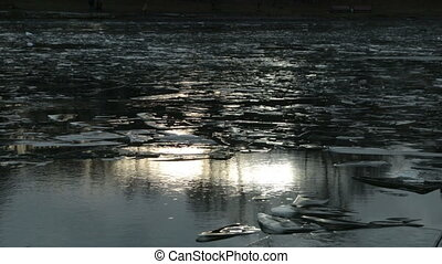Ice and a pond with a solar flare HD