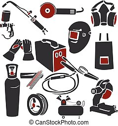 Welding and metal works icons - Set of welding and metal...