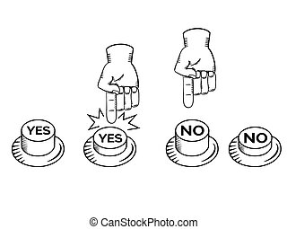 YES NO buttons with hand vector