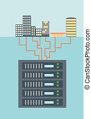 Big data collection flat style vector illustration