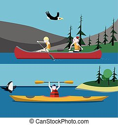 Canoeing and kayaking flat vector illustrations
