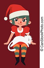 Christmas Girl Sitting with a Cat on her Lap