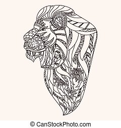 Patterned lion head
