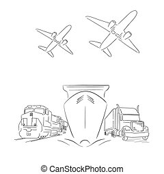 Logistics sign with planes, truck, container ship and train vector illustration