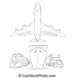 Logistics sign with plane, truck, container ship and train sketchy vector illustration