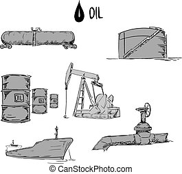 Set of oil industry objects